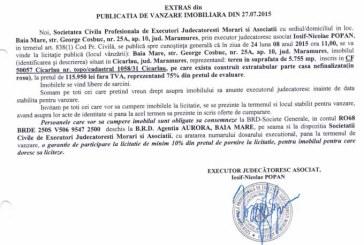 Vanzare teren in Cicarlau – Extras publicatie vanzare imobiliara, din data de 29. 07. 2015