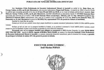 Vanzare casa in Somcuta Mare – Extras publicatie vanzare imobiliara, din data de 30. 07. 2015