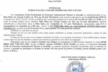 Vanzare teren si casa in Baia Sprie – Extras publicatie vanzare imobiliara, din data de 23. 07. 2015