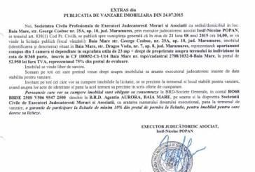Vanzare apartament in Baia Mare – Extras publicatie vanzare imobiliara, din data de 27. 07. 2015