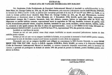 Vanzare apartament in Cehu Silvaniei – Extras publicatie vanzare imobiliara, din data de 08. 07. 2015