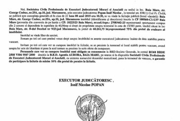 Vanzare apartament in Baia Mare – Extras publicatie vanzare imobiliara, din data de 30. 07. 2015