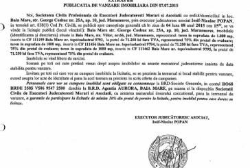 Vanzare teren in Baia Mare – Extras publicatie vanzare imobiliara, din data de 10. 07. 2015