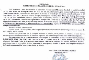Vanzare apartament in Baia Mare – Extras publicatie vanzare imobiliara, din data de 14. 07. 2015