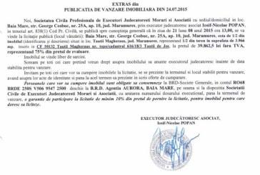 Vanzare teren in Tautii Magheraus – Extras publicatie vanzare imobiliara, din data de 28. 07. 2015