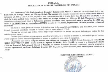 Vanzare teren in Zalau – Extras publicatie vanzare imobiliara, din data de 29. 07. 2015