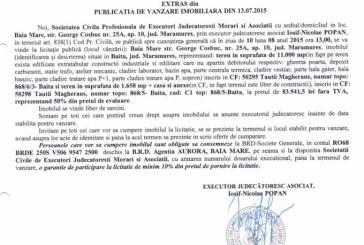 Vanzare teren in Baita – Extras publicatie vanzare imobiliara, din data de 14. 07. 2015