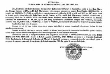Vanzare apartament in Simleul Silvaniei – Extras publicatie vanzare imobiliara, din data de 15. 07. 2015