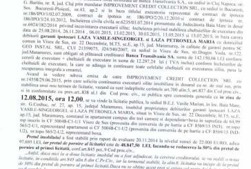 Vanzare apartament in Viseu de Sus – Extras publicatie vanzare imobiliara, din data de 22. 07. 2015