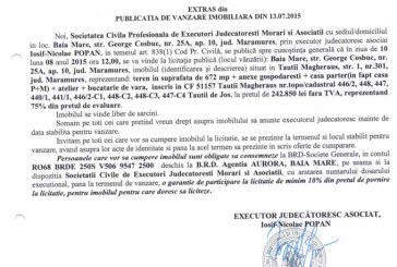 Vanzare teren si casa in Tautii Magheraus – Extras publicatie vanzare imobiliara, din data de 14. 07. 2015