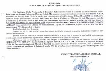 Vanzare teren in Baia Mare – Extras publicatie vanzare imobiliara, din data de 29. 07. 2015