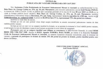 Vanzare teren in Hereclean – Extras publicatie vanzare imobiliara, din data de 22. 07. 2015
