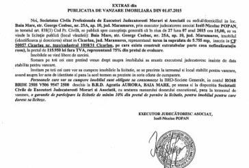 Vanzare teren in Cicarlau – Extras publicatie vanzare imobiliara, din data de 10. 07. 2015