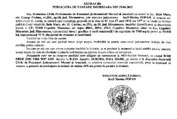 Vanzare teren in Copalnic Manastur – Extras publicatie vanzare imobiliara, din data de 01. 07. 2015