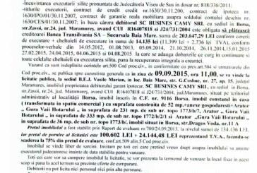 Vanzare teren in Borsa – Extras publicatie vanzare imobiliara, din data de 05. 08. 2015