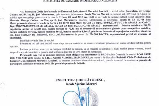 Vanzare baraca metalica Baia Mare – Extras publicatie imobiliara, din data de 20. 08. 2015