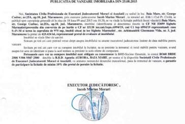 Vanzare casa si teren in Sighetu Marmatiei – Extras publicatie imobiliara, din data de 25. 08. 2015