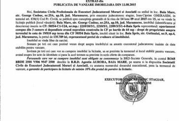 Vanzare apartament in Baia Sprie – Extras publicatie vanzare imobiliara, din data de 12. 08. 2015