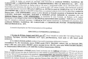 Vanzare autoutilitara Ford – Extras publicatie vanzare, din data de 12. 08. 2015