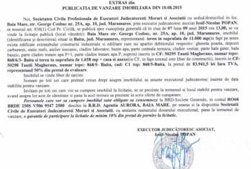 Vanzare teren si casa in Baita – Extras publicatie vanzare imobiliara, din data de 12. 08. 2015