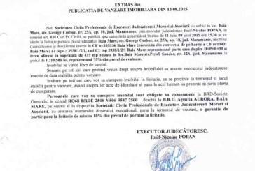 Vanzare casa in Baia Mare – Extras publicatie vanzare imobiliara, din data de 14. 08. 2015