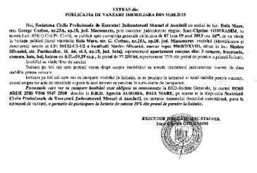 Vanzare apartament in Simleul Silvaniei – Extras publicatie vanzare imobiliara, din data de 11. 08. 2015