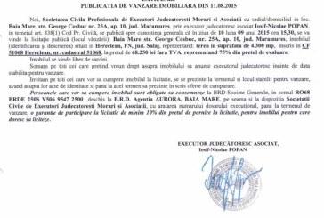 Vanzare teren in Hereclean – Extras publicatie vanzare imobiliara, din data de 12. 08. 2015
