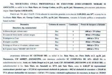 Vanzare obiecte de birou – Extras publicatie imobiliara, din data de 21. 08. 2015