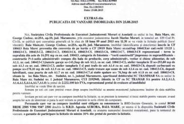 Vanzare teren si hala in Baia Mare – Extras publicatie imobiliara, din data de 25. 08. 2015