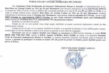 Vanzare teren in Cicarlau – Extras publicatie imobiliara, din data de 28. 08. 2015