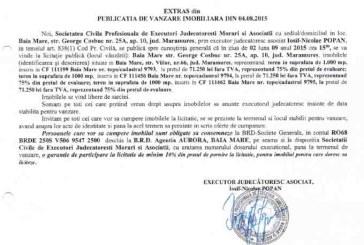 Vanzare terenuri in Baia Mare – Extras publicatie vanzare imobiliara, din data de 05. 08. 2015