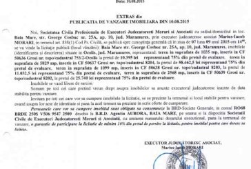 Vanzare terenuri in Grosi – Extras publicatie vanzare imobiliara, din data de 11. 08. 2015