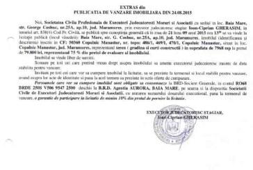 Vanzare teren in Copalnic Manastur – Extras publicatie imobiliara, din data de 25. 08. 2015