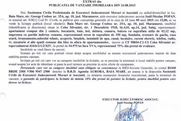 Vanzare teren si apartament in Cehu Silvaniei – Extras publicatie imobiliara, din data de 28. 08. 2015