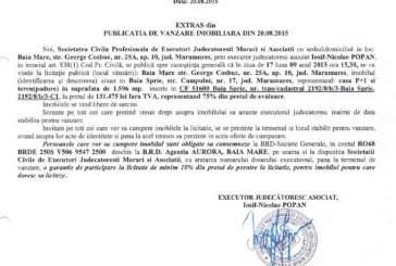 Vanzare teren si casa in Baia Sprie – Extras publicatie imobiliara, din data de 25. 08. 2015