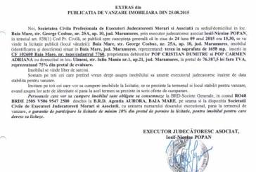 Vanzare teren in Ulmeni – Extras publicatie imobiliara, din data de 28. 08. 2015