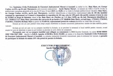 Vanzare apartament si teren in Baia Mare – Extras publicatie imobiliara, din data de 28. 08. 2015