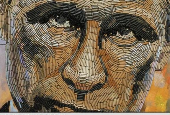 Portret al lui Putin din 5.000 de cartuse adunate in zona de conflict