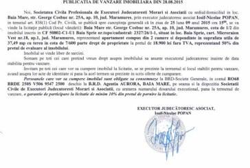 Vanzare apartament in Baia Sprie – Extras publicatie imobiliara, din data de 01. 09. 2015