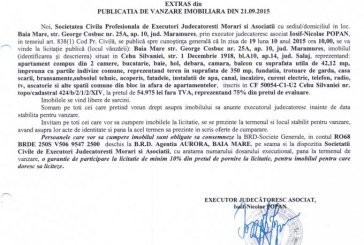 Vanzare apartament in Cehu Silvaniei – Extras publicatie imobiliara, din data de 22. 09. 2015