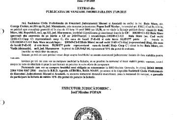 Vanzare casa in Baia Mare – Extras publicatie imobiliara, din data de 24. 09. 2015
