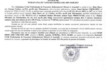 Vanzare apartament in Simleu Silvaniei – Extras publicatie imobiliara, din data de 08. 09. 2015