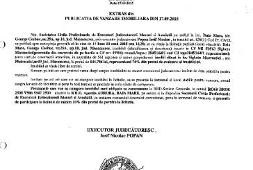 Vanzare teren si casa in Sighetu Marmatiei – Extras publicatie imobiliara, din data de 25. 09. 2015