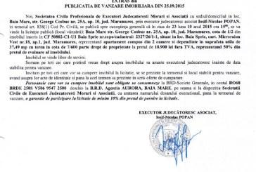 Vanzare apartament Baia Sprie – Extras publicatie imobiliara, din data de 28. 09. 2015