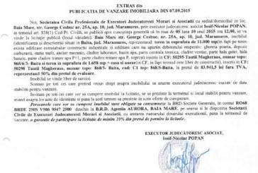 Vanzare teren si casa in Baita – Extras publicatie imobiliara, din data de 08. 09. 2015
