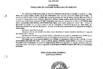Vanzare apartament in Baia Sprie – Extras publicatie imobiliara, din data de 30. 09. 2015