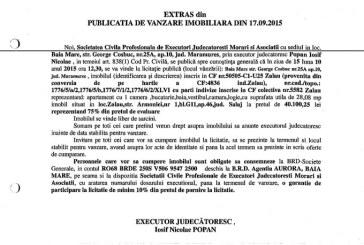 Vanzare apartament in Zalau – Extras publicatie imobiliara, din data de 22. 09. 2015
