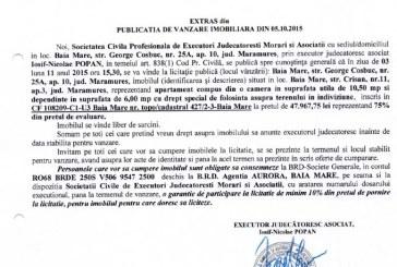 Vanzare apartament in Baia Mare – Extras publicatie imobiliara, din data de 06. 10. 2015