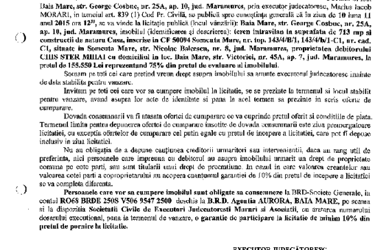 Vanzare teren si casa in Somcuta Mare – Extras publicatie imobiliara, din data de 22. 10. 2015