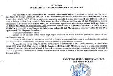 Vanzare teren in Baia Mare – Extras publicatie imobiliara, din data de 27. 10. 2015